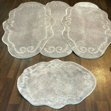 ROMANY WASHABLE MATS 4PC SET NON SLIP BEAUTIFUL DESIGN SILVER MATS NEW RUGS